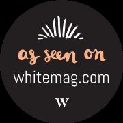 White magazine logo