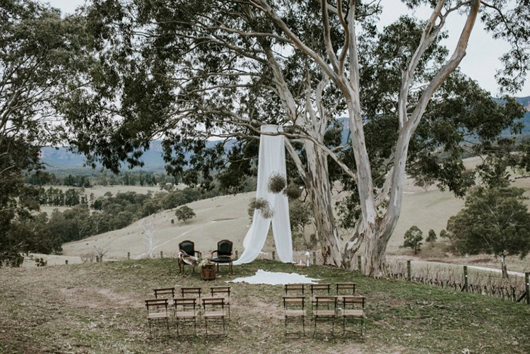 scenic ceremony wedding venue at dryridge estate in the megalong valley blue mountains